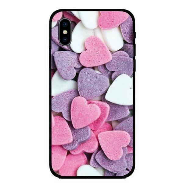 Калъфче за Motorola 221 розови и лилави сърца