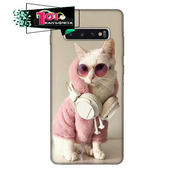 Калъфче за Samsung 213 розово коте със слушалки