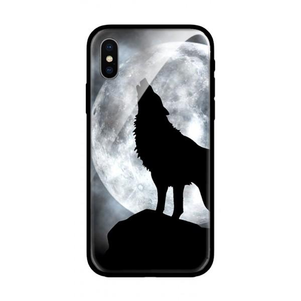 Стъклен кейс за iPhone черен вълк 405