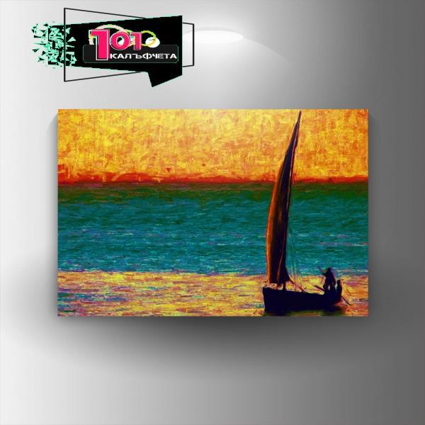 Картина-канава Лодка