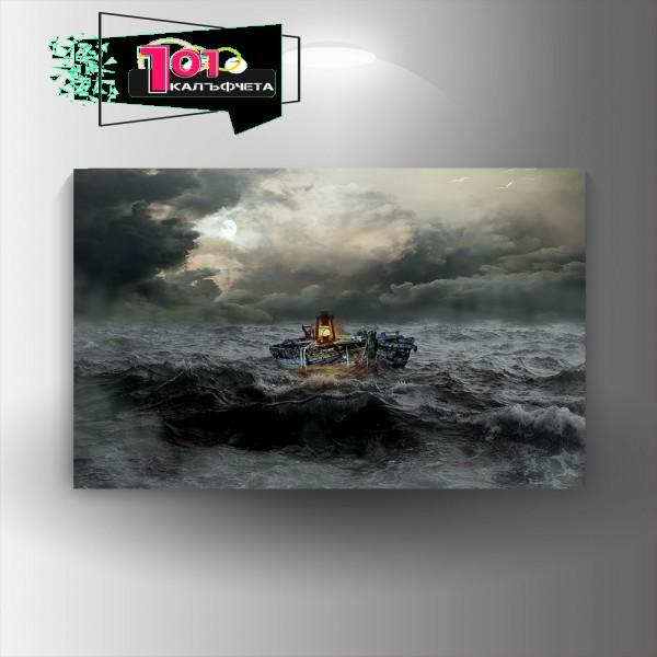 Картина-канава Лодка с фенер