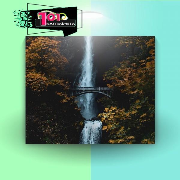 Картина-канава Мост и водопад