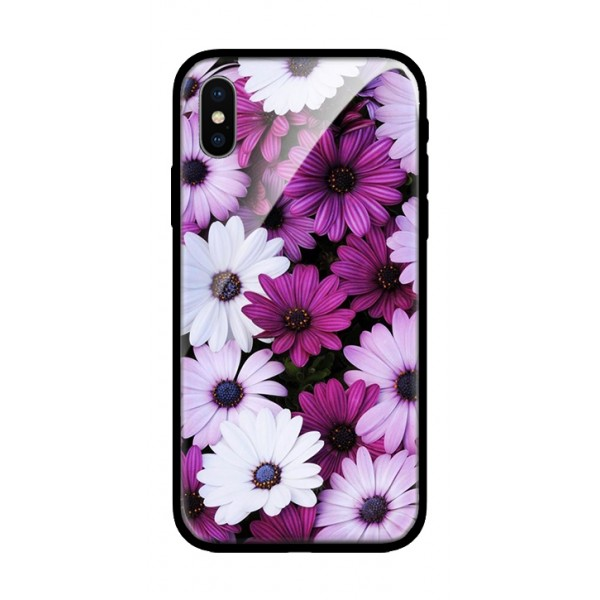 Стъклен кейс за iPhone 8 Plus лилави маргаритки 101+51