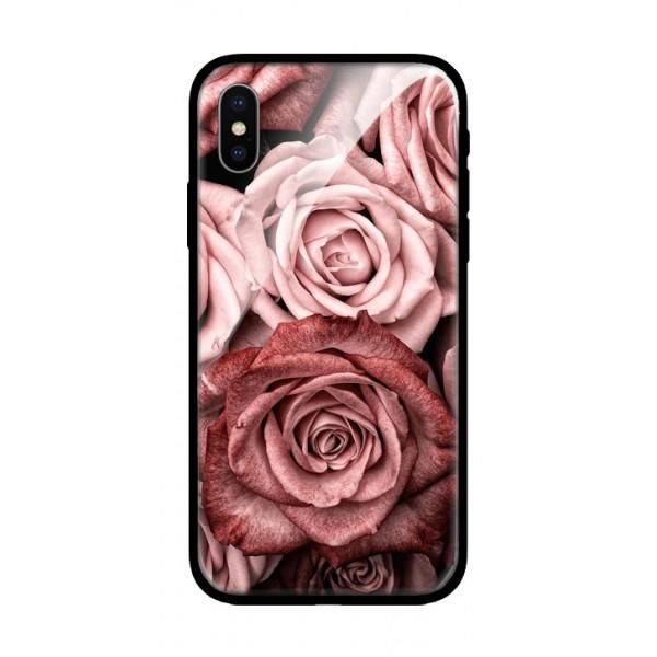 Стъклен кейс за iPhone XS рози 424
