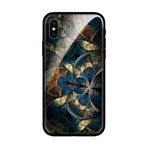 Стъклен кейс за iPhone XS цветя 434